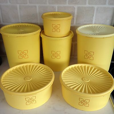 Vintage Tupperware Storage Containers Yellow Harvest Fluted Lids - Retro