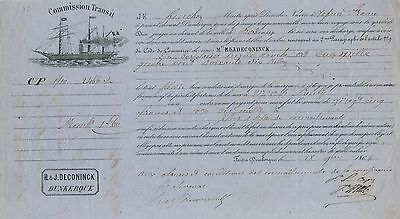 """France 1864, Steamship """"france"""" Scarce Bill Of Lading With Revenue  #a2461"""