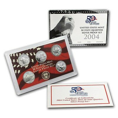 2004 Silver Proof Quarters Set with US Mint Original box and COA