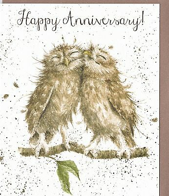 "Country Set Greeting Card Wrendale Designs Owl ""Happy Anniversary"""