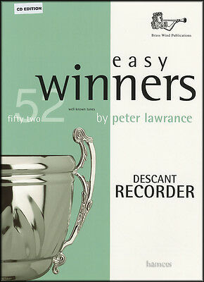 Easy Winners for Descant Recorder Sheet Music Book/CD 52 Well-Known Tunes