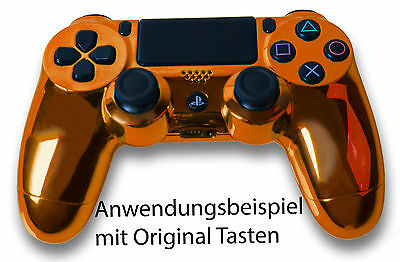 Playstation PS4 Controller Case Hülle Gehäuse Chrome Modding Cover Orange