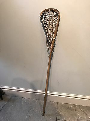 """VINTAGE/ANTIQUE WOODEN & LEATHER 43"""" LONG LACROSSE STICK WALL/window Display"""