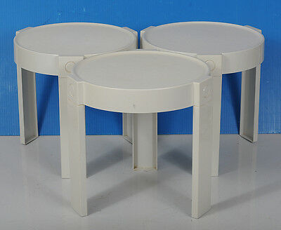 Vintage 1960`s White Stacking Tables - Mid Century - Space Age
