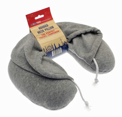 Globetrek Grey Hooded Hoodie U Shape Travel Neck Pillow Cushion Holiday Home Car
