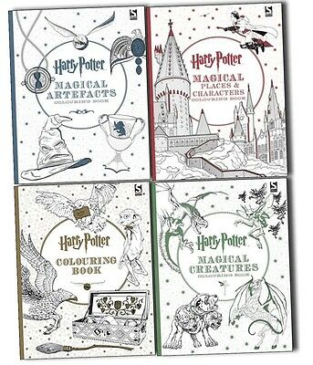 Harry Potter 4 Colouring Books Collection Set- Magical Artefacts and Places New