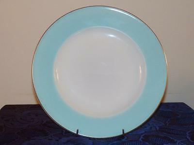 """VINTAGE PYREX - 10"""" Dinner Plate - Pale Turquoise Band with Gold Rim"""
