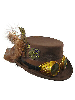 Ladies Womens Brown Victorian Deluxe Top Hat With Steampunk Goggles Costume