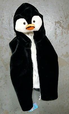Penguin Fluffy Warm Kids Vest with Animal Hoodie Plush,two packets