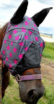 Equine Horse Fly Mask Summer Spring Airflow Mesh UV Mosquitoes Pink Star 73254