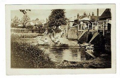 Unidentified Social History Postcard Pipe / River Works Real Photo Vintage C1910