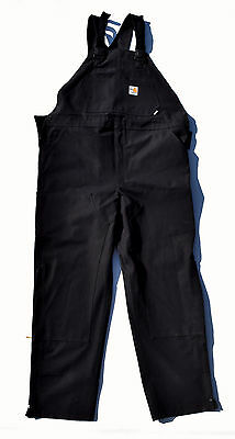 CARHARTT FR Black Unlined FRR45 BLK Flame Resistant Duck Bib Overall ~ 46x32 NWT