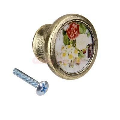 Antique Brass Cabinet Drawer Round Pulls Cupboard Bin Knob Handle DIY Peony