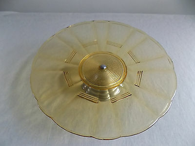 ART DECO – Amber pressed glass CAKE PLATE & chrome foot. Sowerby? 1930's