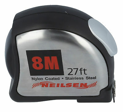 8 Mtr Metre 27 FT Tape Measure. High Quality Stainless Steel Shell / Blade.