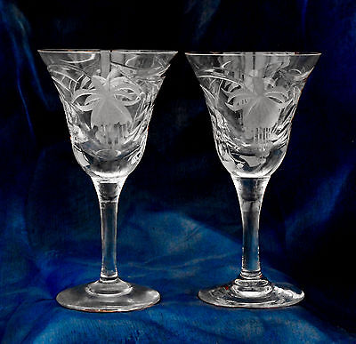 Royal Brierley ~ Fuchsia ~ 2 Small Glasses ~ Signed