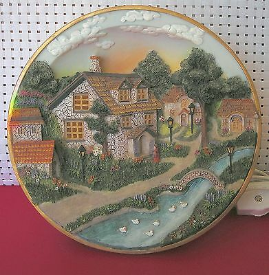 Vintage Nite Lite With Village Scene With On & Off Switch On Electric Wire