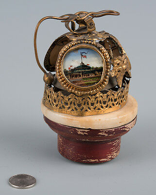 Antique 1894 Worlds Fair San Fransisco Eglomise Painting Dinner Bell On Stand