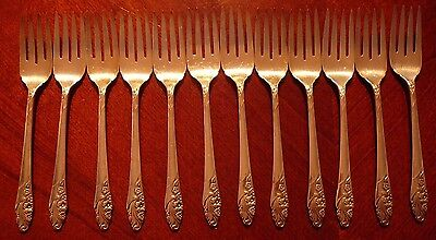 "12 COMMUNITY EVENING STAR SILVERPLATE SALAD FORKS 6 5/8"" 1950's"