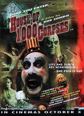HOUSE OF 1000 CORPSES - Magazine Advert A4-size UK Press Ad - Rob Zombie - RARE