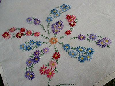 TABLECLOTH-HAND EMBROIDERED with COLOURFUL FLOWERS-IRISH LINEN