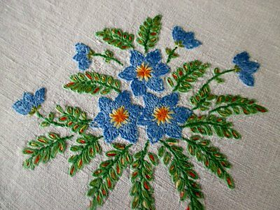 VINTAGE TABLECLOTH-HAND EMBROIDERED with BLUE,PINK & MAUVE FLOWERS