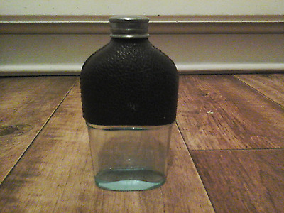 Vintage Glass Hip Drinking Flask With White Metal Screw Top Collectable