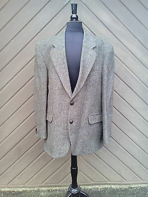 "Mens Vintage Harris Tweed Wool Herringbone Blazer Jacket 46"" Chest"