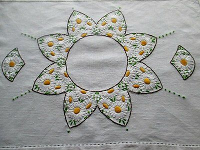 VINTAGE TRAY CLOTH-HAND EMBROIDERED with DAISIES