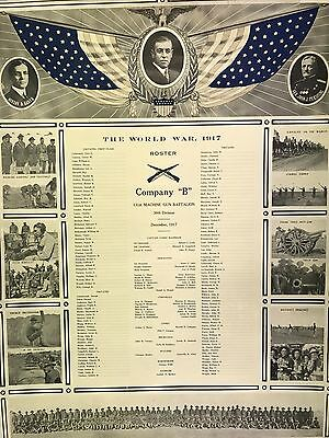 "1917 Camp Bowie US Army 131st Machine Gun Battalion Company ""B"" Roster Poster"