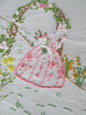 Vintage Tablecloth - Hand Embroidered Crinoline Ladies - Linen