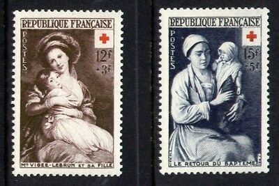 FRANCE 1952 Red Cross Fund pair vf Mint never hinged SG 1191 - 1192