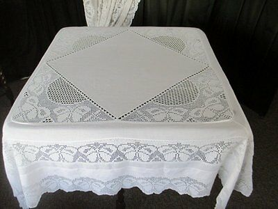 "ANTIQUE TABLECLOTH-HAND CROCHET TRIM,BORDER & INSETS-LINEN-52""sq."