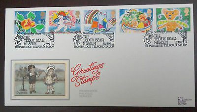 1989 SUPERB PPS FDC - GREETINGS STAMPS - 5 x 19p STRIP - TEDDY MUSEUM IRONBRIDGE