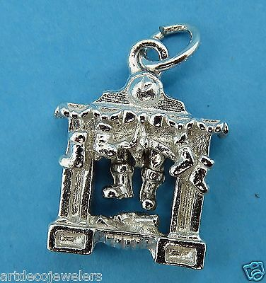 Vintage silver CHRISTMAS FIREPLACE MANTLE SANTA CLAUS MOVABLE BOOTS charm NEW #F