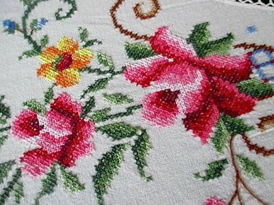 "LARGE ROUND TABLECLOTH DECORATED WITH HAND EMBROIDERY & CROCHET 84"" dia"