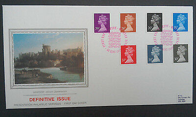 1989 SUPERB PPS FDC - DEFINITIVE NEW COLOURS / VALUES - WINDSOR - 15p to 37p