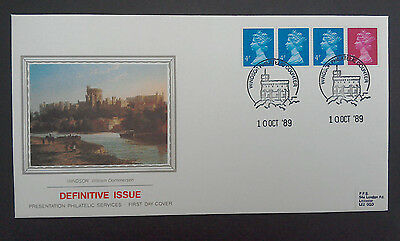 1989 SUPERB PPS FDC - 15p MULTI-VALUE COIL STRIP 3 x 4p + 3p - WINDSOR COUNTER