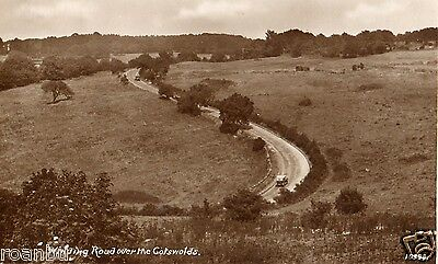 Early Winding Road Over The Cotswolds Gloucester Postcard