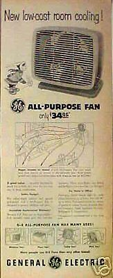 1954 GE All-Purpose Electric Vintage Home Fan Low-Cost Room Cooling Trade Art AD