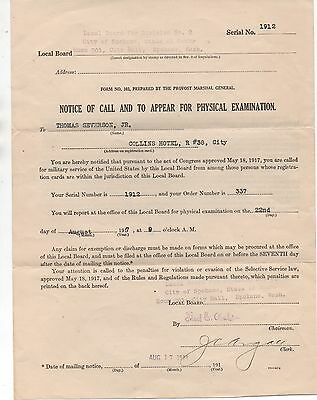 1917 WWI Military Physical Exam Certificate from Spokane WA