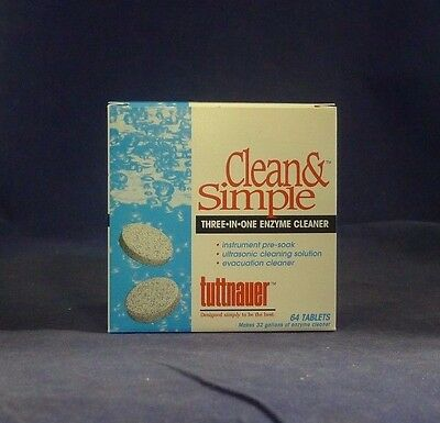 Tuttnauer Clean & Simple Enzyme Cleaner Tablets Box of 64 NEW