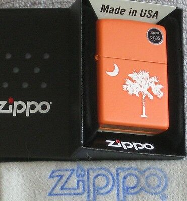 ZIPPO  SOUTH CAROLINA Lighter CLEMSON ORANGE State Flag  PALMETTO & MOON