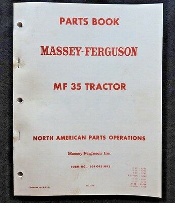 1960-65 Massey Ferguson Mf35 Mf 35 Tractor Parts Catalog Manual Nice One