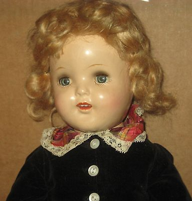 """1930's All Composition Doll - 19""""- unmarked Queen Elizabeth- all original"""