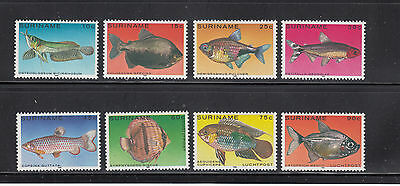 Suriname 1980 Freshwater Fish Sc 557-61, C92-94 complete mint never hinged