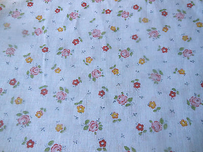 Vintage French or English Petite Floral Roses Cotton Fabric ~ Yellow Pink Red