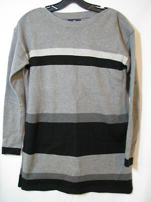 e0fe2a12be GAP Colorblock BOAT NECK SWEATER TUNIC TOP Gray Black SUPER SOFT Stretch XS