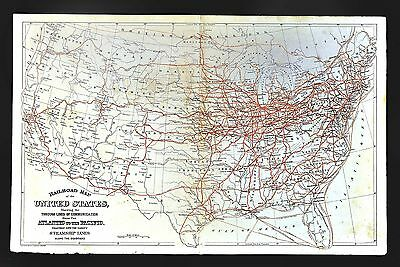 1880 Mitchell Map - United States Railroads Map Steamship Lines Transportation
