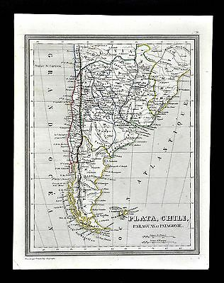 1835 Monin & Fremin Map - South America La Plata Argentina Chili Paraguay Brazil